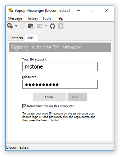 Login to the IM network interface